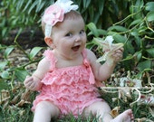 Pink Ruffled Lace Petti Romper AND Shabby Chic Headband Set - Toddler, Baby, Girl, Child