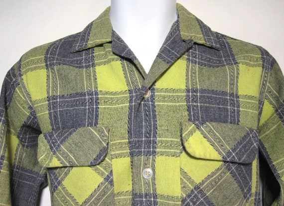 Vintage Lanier by Oxford Wool Plaid Shirt Sz.S 1950's 1960's
