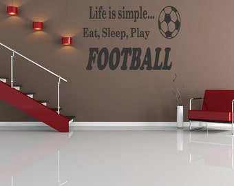 Eat Sllep Play Footall Wall Art Sticker Decal Graphic Bedroom Quote Removable Letters (B116)