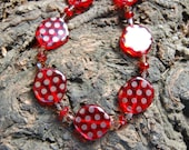 Red Czech Bead and Crystal Necklace - 18 inches