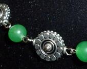 Metallic and green aventurine bead necklace