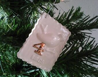 Four Calling Birds Porcelain Christmas Ornament