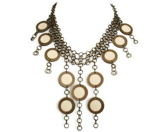 Bohemian Leather Necklace Ivory Leather Jewellery Antique Gold Necklace Statement Necklace Gift for Her