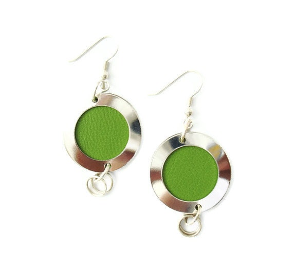 Silver Disc Earrings with Leather Insert