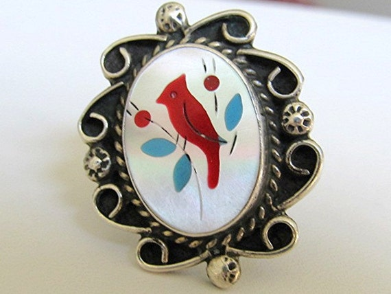 Vintage Zuni Mother of Pearl Cardinal Ring Size 6 1/2