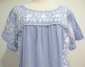 Mexican Embroidered Dress Cotton Tunic In Blue, Boho Dress Bohemian Style
