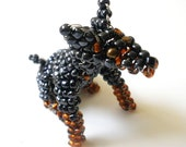 Sitting Doberman Glass Bead and Wire Dog Sculpture
