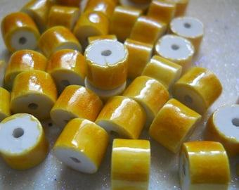 Yellow Splash Glazed Polymer Beads (60)