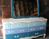 RESERVED - Vintage Refurbished Blue Ombre French Provincial Dresser & MIrror Combo