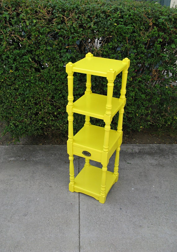 RESERVED FOR VALENTINA Vintage Refurbished High Gloss Sunshine Yellow Bookcase - Customize Your Hardware Color