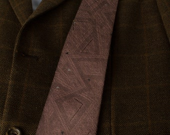 Vintage Tie Polyester  Linen 1980's