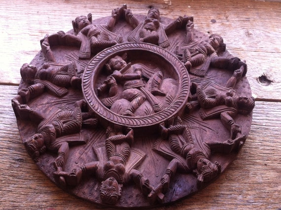 Indian Inspired Wood Carving of Women Dancing