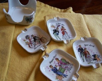 Whimsical Vintage Porcelain Mini Trinket Dishes I Love You Collection