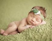 Newborn {Evergreen} Rosette Headband, Newborn Photography Prop