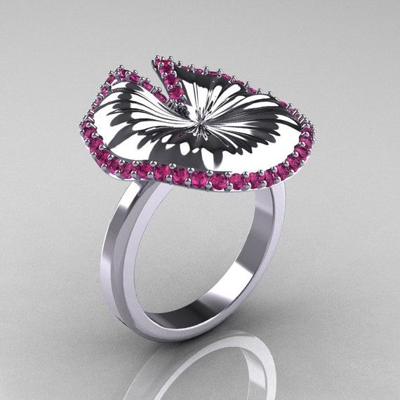 10K White Gold Pink Sapphire Water Lily Leaf Wedding Ring, Engagement Ring NN121-10KWGPS