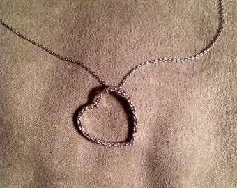 "Vintage Sterling Silver 18"" Chain with a Heart Pendant"
