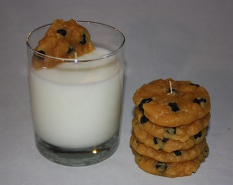 Oatmeal Raisin Cookies and Milk Candle Set, Santa's Favorite Candle, Original Design, Unique Candle Set,  Oatmeal Raisin Cookie Scent