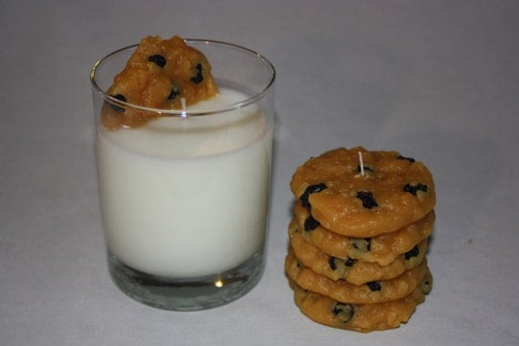 Oatmeal Raisin Cookies and Milk Candle Set, Santa's Favorite Candle, Original Design, Unique Candle Set,  Oatmeal Raisin Cookie Scent
