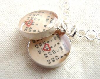 Custom Calendar Necklace ...Sterling Silver... Two Charms... Children's Birthdays, Couple Birthdays...