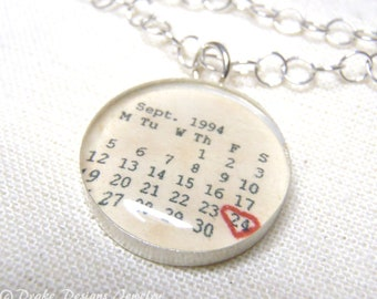 Personalized Calendar Necklace ...First Anniversary Paper Gifts, 1st Wedding, Save the Date, any Special Day Personalized Necklace