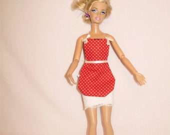 Barbie clothes-  red apron