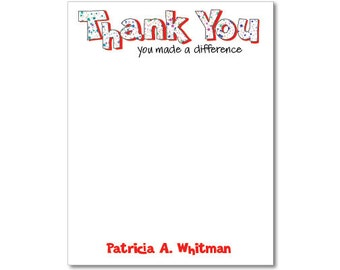 Personalized Notepads - Thank you. You made a difference
