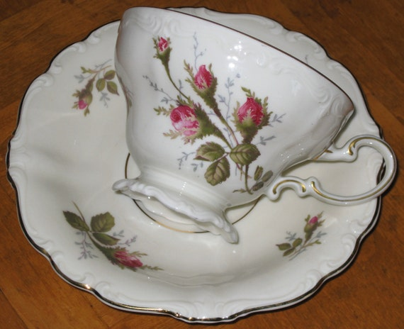 "CUSTOM LISTING For Cathy - Rosenthal ""Moss Rose"" Handled Cake Plate Plus Two Cups and Saucers"