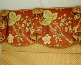 "Custom Valance BLOSSOM Hidden Rod Pocket Valance fits 33""- 46"" window, Constructed using your fabrics, my LABOR and lining"