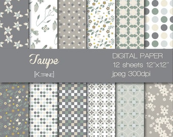 Digital paper of 12 sheets  for scrapbooking, tag, invitation, decoration...