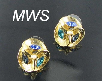 Blue Green turquoise colored RHINESTONE faux pearl pierced earrings signed MWS