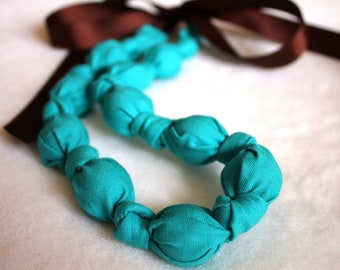 Fabric Necklace,Teething Necklace, Chomping Necklace, Nursing Necklace - Caribbean Blue