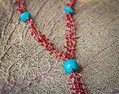 Multiple Stranded Coral Branch and Turquoise Necklace