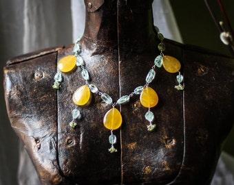 Butter Quartz and Aquamarine Collar Necklace
