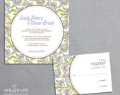 Square Wedding Invitation Printable DIY with Floral Background