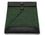 CLEARANCE SALE  -  Harris Tweed & Black Leather iPad Laptop Tablet Case / Sleeve / Envelope