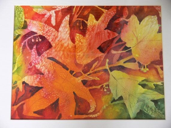 "Vibrant Red Orange Yellow Autumn Leaves  Watercolor Print  8.5"" x 11"" art by Sally Crisp"