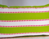 14x24 - Decorative Pillow Cover - Pink Dots with Lime Green and White Stripes - White Cotton Back