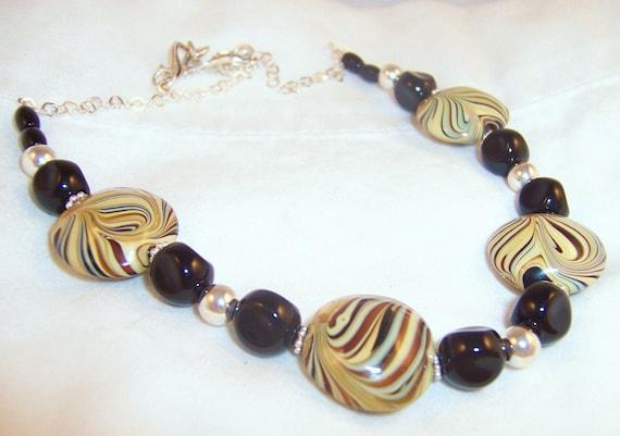 Cream Swirl Necklace, Swirl lampwork beaded necklace, Tan and black swirl beads necklace
