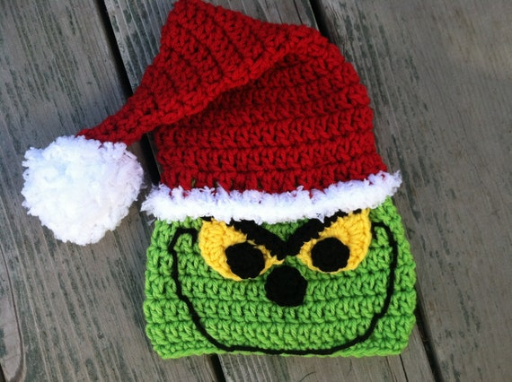 77e22f318bf02 Christmas Santa Grinch Crochet Pattern -- Pattern Includes Sizes Newborn- adult