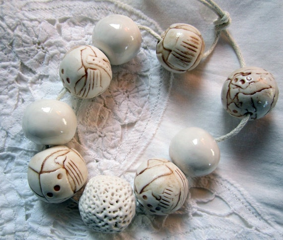 Ceramic Porcelain Bead Sets Brown and White Layered and Textured
