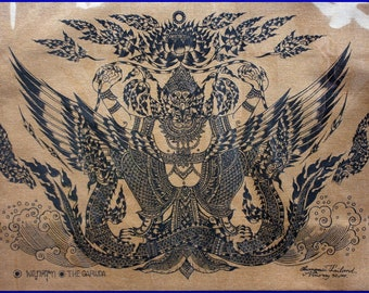 Thai traditional art of The Garuda by silkscreen printing on cotton