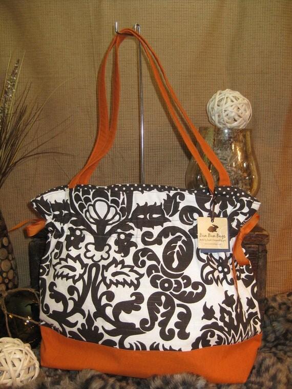 Anna: Large fabric handbag with brown and orange