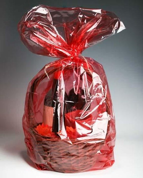 Red jewel plastic cellophane basket gift wrap by
