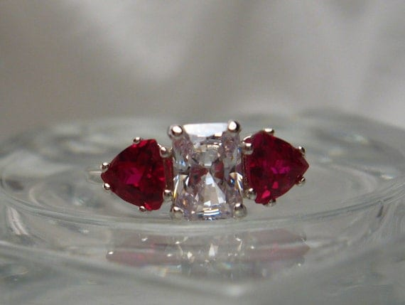 """Modern Radiant """"H"""" or Warm Color Cubic Zirconia and Trillion Lab Created Ruby .925 Ring Size 7"""