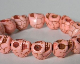 Peach Day of the Dead Skull Bracelet (Dia De Los Muertos - All Saints Day) - Crafted in the USA