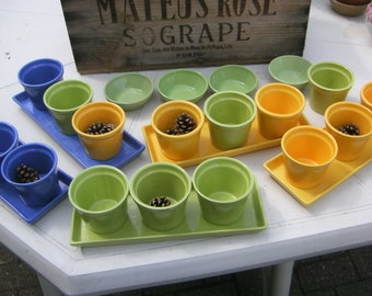 16 Colourful plant pot holder with tray and saucers Blue Yellow and Green