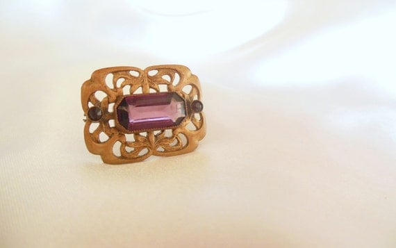 Retro Art Nouveau Brooch with Amethyst Glass Rhinestone
