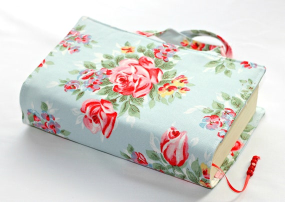 Blue red floral Cath kidston fabric book bag book cover with