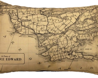 Prince Edward County Canada Vintage Map Pillow - FREE SHIPPING