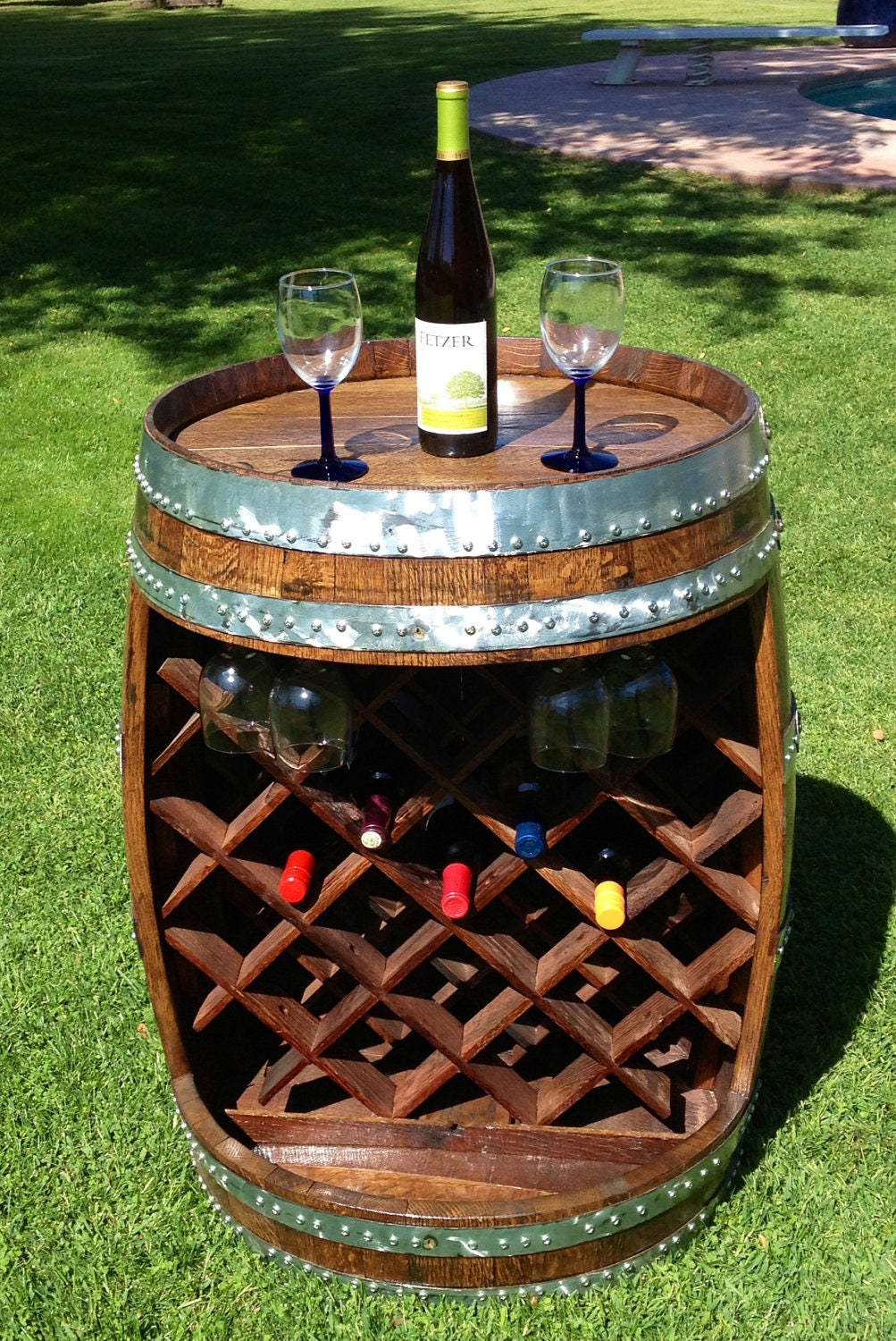 Wine barrel wine rack for Decoration jardin tonneau